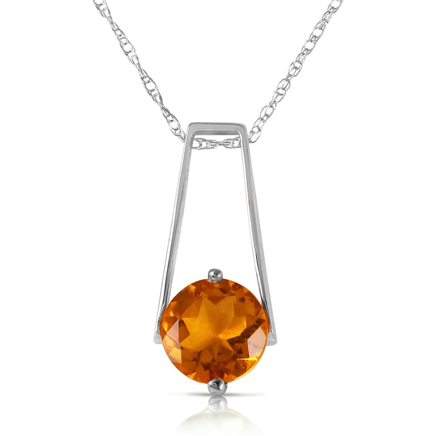 ALARRI 1.45 Carat 14K Solid White Gold Smooth Love Citrine Necklace with 18 Inch Chain Length