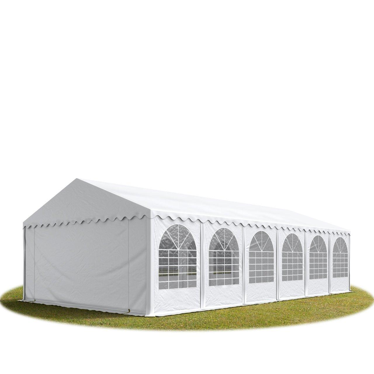 Festzelt XXL Partyzelt 6x12m, hochwertige 550g/m² feuersichere PVC Plane nach DIN in weiß, 100% wasserdicht, vollverzinkte Stahlkonstruktion mit Verbolzung, Seitenhöhe ca. 2,6 m