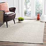 Safavieh Montauk Collection MTK717A Handmade Flatweave Ivory and Grey Cotton Area Rug (5' x 7')