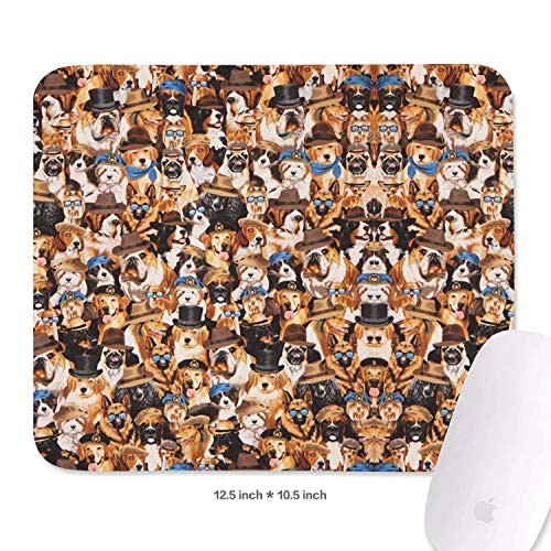 Family Game Office Wrist Rest Pad Gentleman's Dog with Hat and Sunglasses Custom Durable Non-Slip Rubber Rectangular Mousepad]()