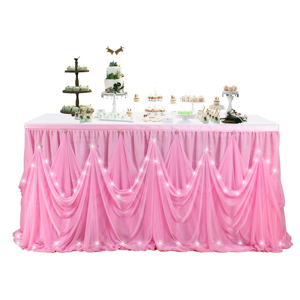 AC8grg LED Diamante Style Table Skirt for Party Wedding Birthday(with Lamp) Pink 9(ft) X30(in) by AC8grg