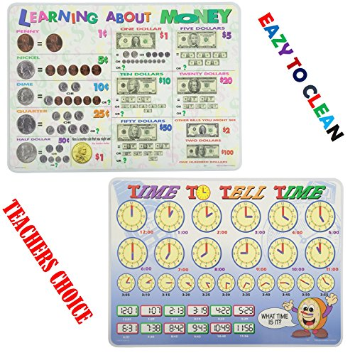Painless Learning Educational Placemats for Kids Time and Money Set of 2 Non Slip Washable