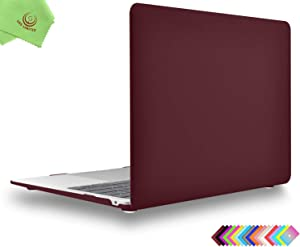 UESWILL Smooth Matte Hard Shell Case Cover for 2020 2019 2018 MacBook Air 13 inch Retina Display & Touch ID & USB-C Model A2179 A1932 + Microfibre Cleaning Cloth, Wine Red