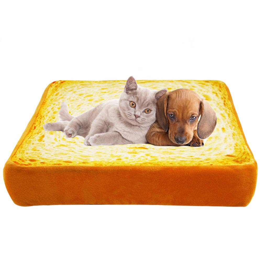 60x58x7cm Creative Toast Bread Slice Style Pet Mats Cushion Soft Warm Mattress Bed for Cats & Dogs (Sponge Core)