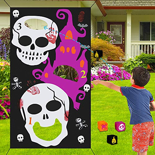 Halloween Bean Bag Toss Game Pumpkin Set with 3pcs Bean Bags for Kids Party Halloween Decorations Indoor Outdoor Children Family Throwing Games Supplies- Skull