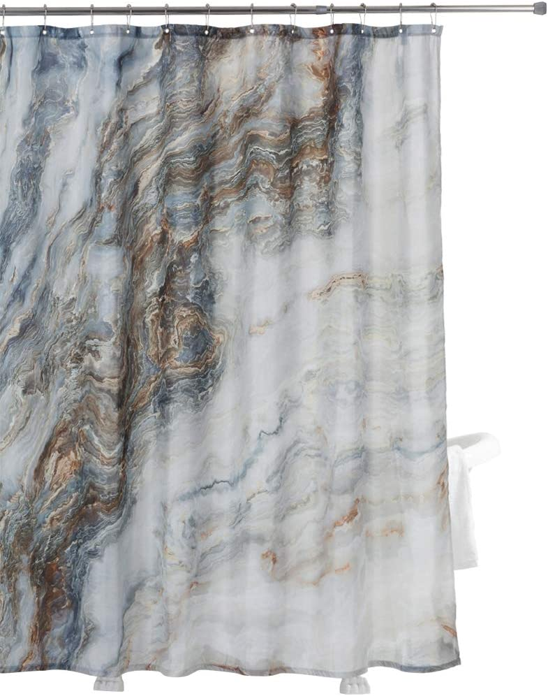 Home Queen Marble Ink Texture Background Pattern Shower Curtain with Metal Hooks, Waterproof Fabric Bathroom Decor Curtain with Weighted Rubber at The Bottom, 71 X 71 Inches
