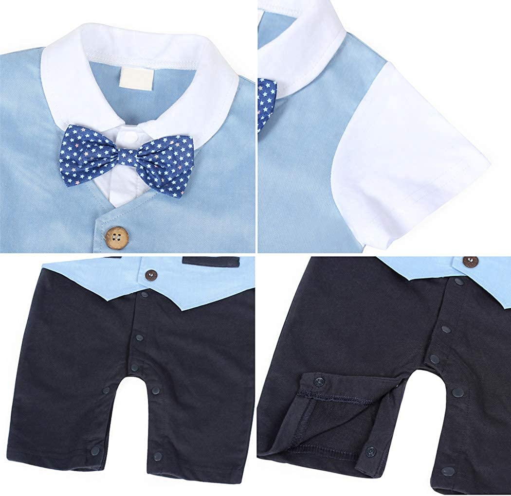AmzBarley Baby Boys Gentlemans Outfit Suit Kids Long//Short Sleeve Dress Shirt Pants Vest Bowtie Tuxedo Rompers Childs Birthday Evening Holiday Party