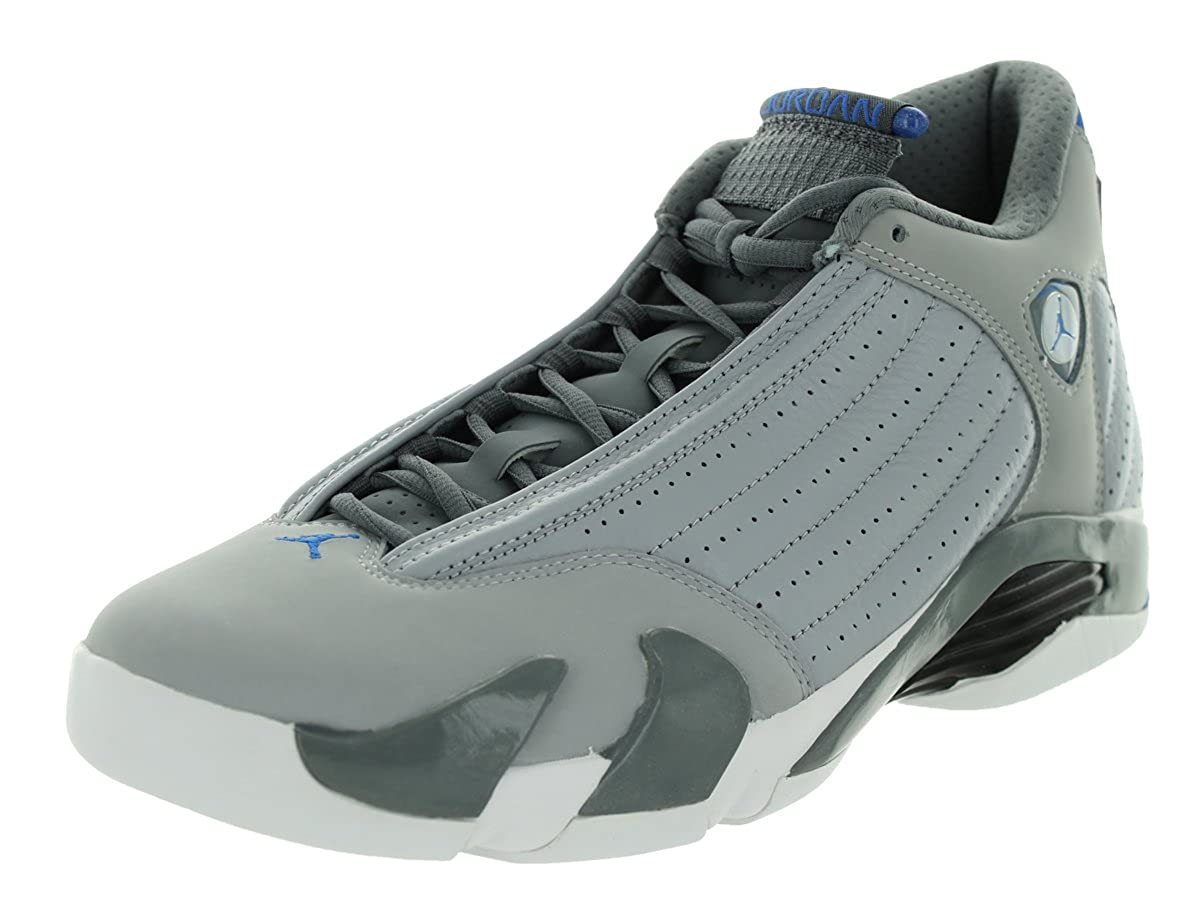 online retailer 20483 a3509 Amazon.com   Nike Mens Air Jordan 14 Retro Wolf Grey Sport Blue-Cool Grey-White  Leather Size 8.5 Basketball Shoes   Basketball