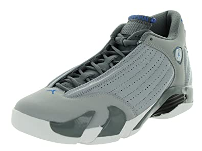 9d0fd824fb33 Image Unavailable. Image not available for. Color  Nike Mens Air Jordan 14  Retro Wolf Grey Sport Blue-Cool Grey-White