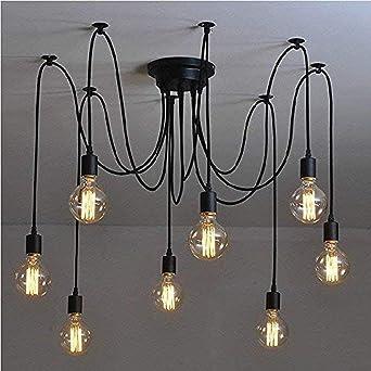 Lightsjoy Eclairage Lustre Plafond Lampe Rétro Suspension Pendentif De Vintage 8 Luminaire Induistrielle Multi Lumière Araignée Réglable KTcl1FJ