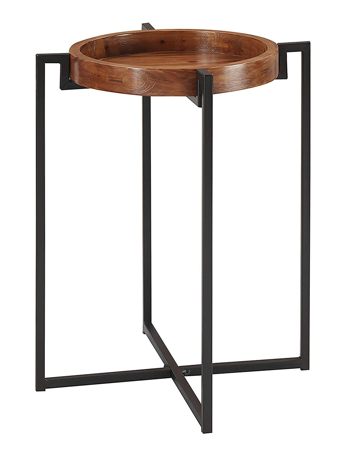 Convenience Concepts 227265 Nordic Round Tray End Table, Dark Walnut Black