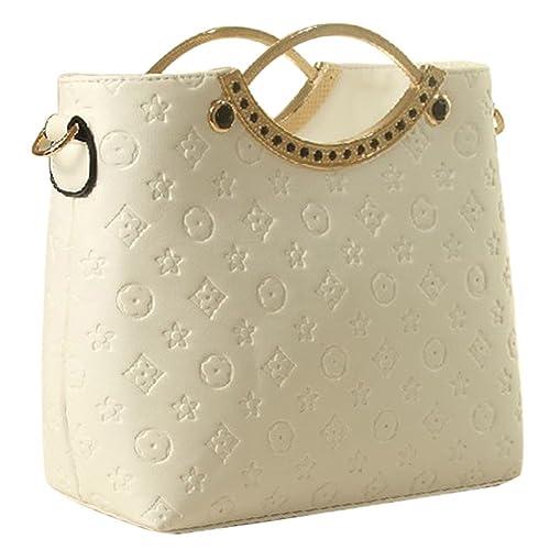 c62d60e1fa82 Vonfon Bag Work Place Embossed Fashion Handbag White: Handbags ...