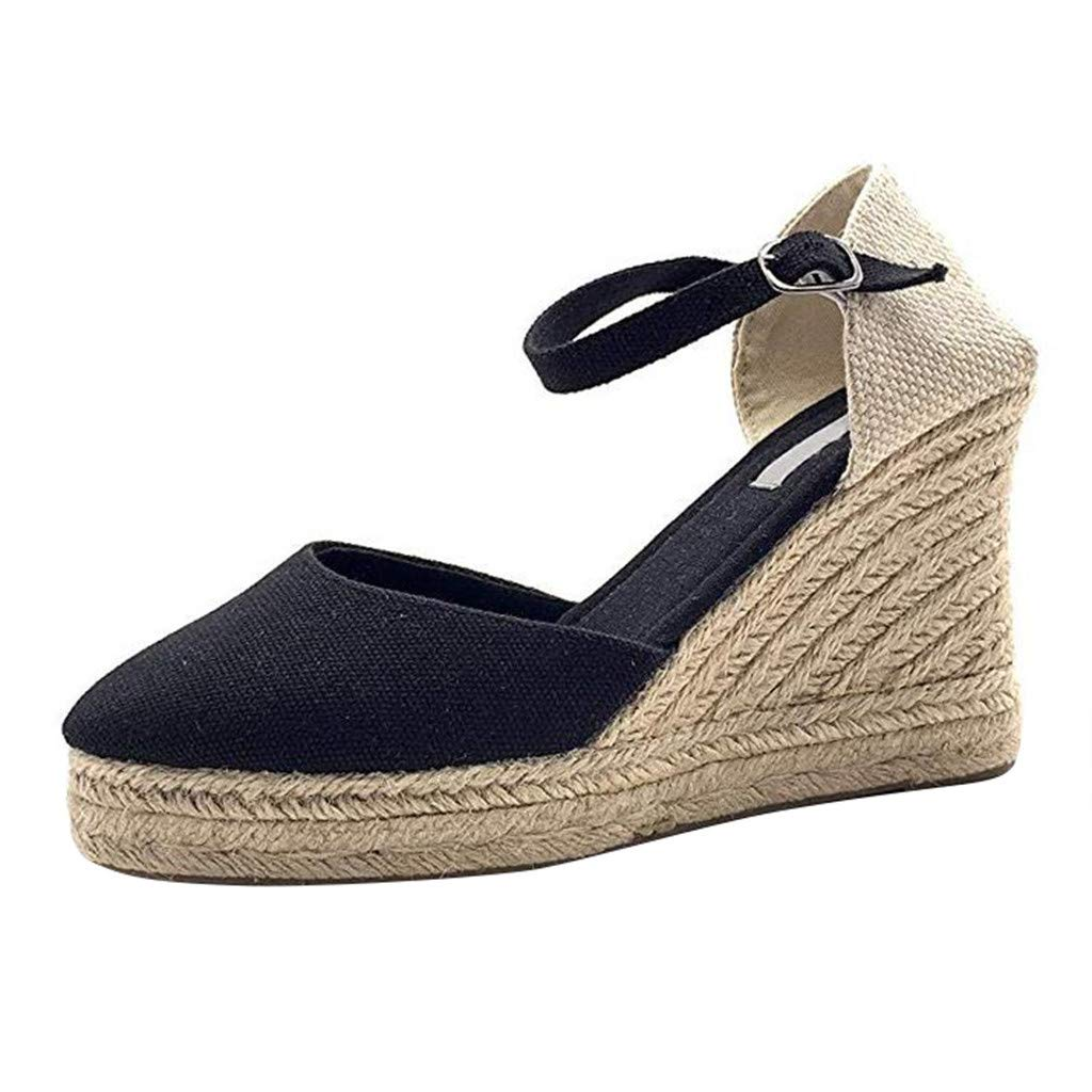 Sandals for Women Platform Wedge Espadrille Ankle Strap Buckle Casual Closed Toe Bohemian Thick Shoes (US:7.5, Black)