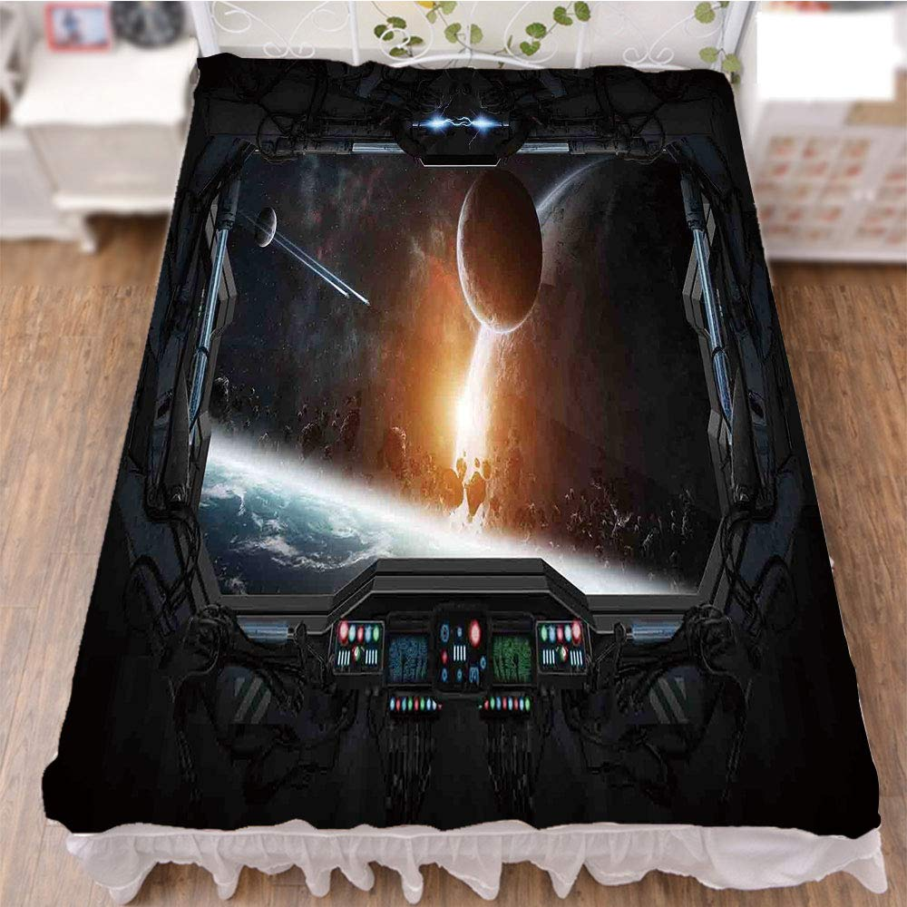 iPrint Bedding Duvet Cover Set 3D Print,Planets from The Window of a Shuttle Bodies,Fashion Personality Customization adds Color to Your Bedroom. by 59''x78.7''