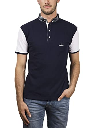 EBRAH - Polo para Hombre, Color Azul, Bicolor, Manga Corta: Amazon ...