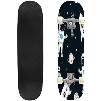 Classic Concave Skateboard Hand Drawn Space Elements Seamless Pattern Space Background Space Longboard Maple Deck Extreme Sports and Outdoors Double Kick Trick for Beginners and Professionals : Sports & Outdoors