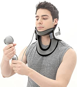 Disk Dr. Neck Cervical Traction Device All Size, Neck Support & Stretcher, Neck & Shoulder Pain Relief, Spine Alignment (Gray, no Size limitation, 1 Count (Pack of 1))