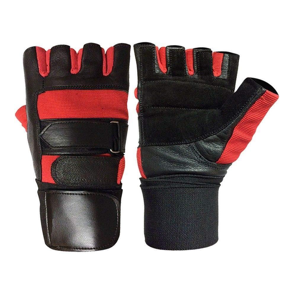 a48bee817ca3f0 Gewichthebe-handschuhe Leder Voll GEPOLSTERT Prime Hohe Qualität Lang  Handgelenksbandage Power Lifting gepolstert Palm Übung Fitness ...