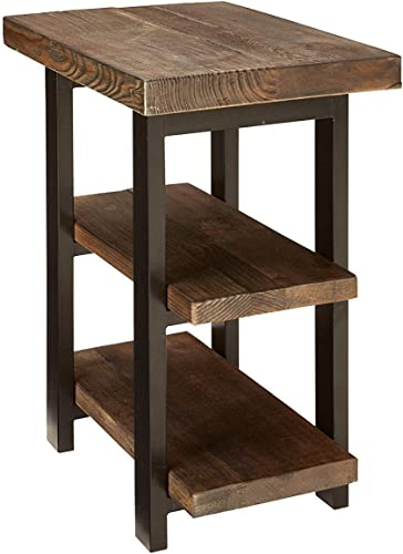 Cheap Bolton Furniture Pomona Metal and Reclaimed Wood 2-Shelf End Table living room table for sale