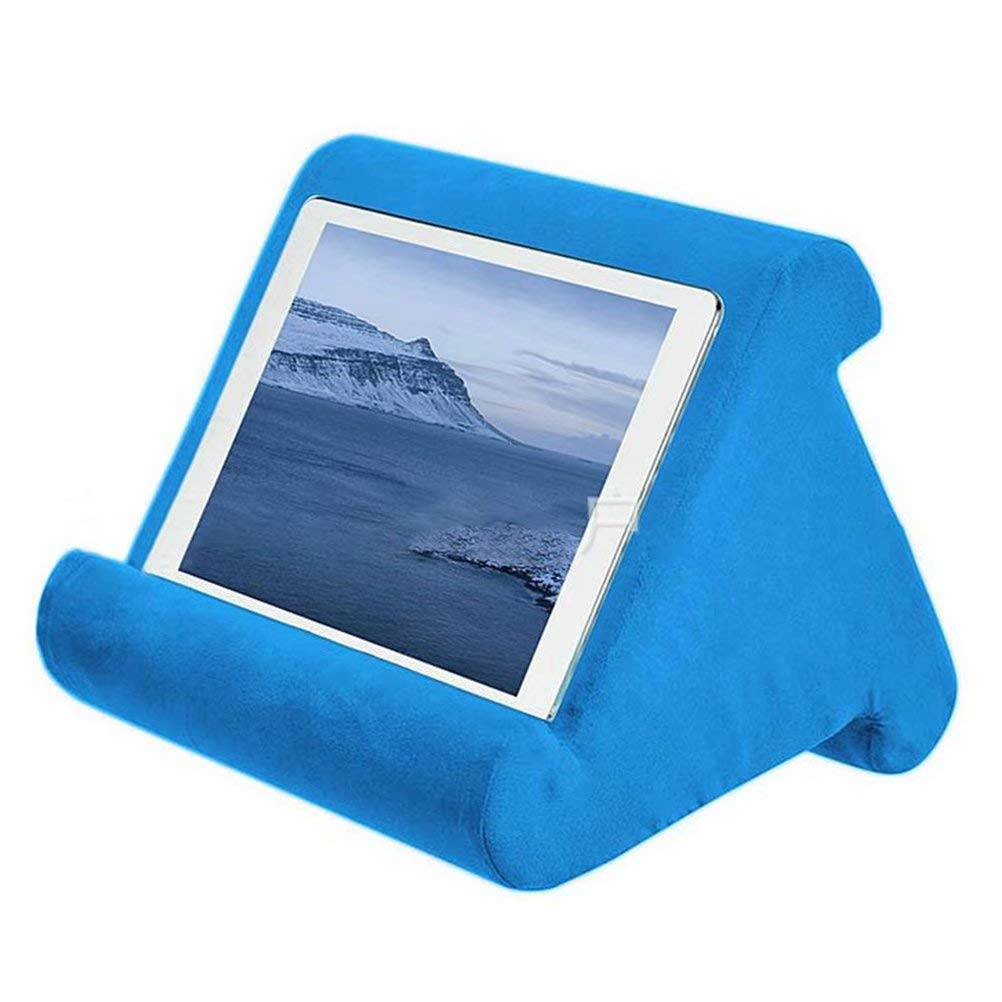 Blue Multi Angle Tablet Pillow Stand Soft Pillow Lap Desk Stand for Tablets eReaders Holder