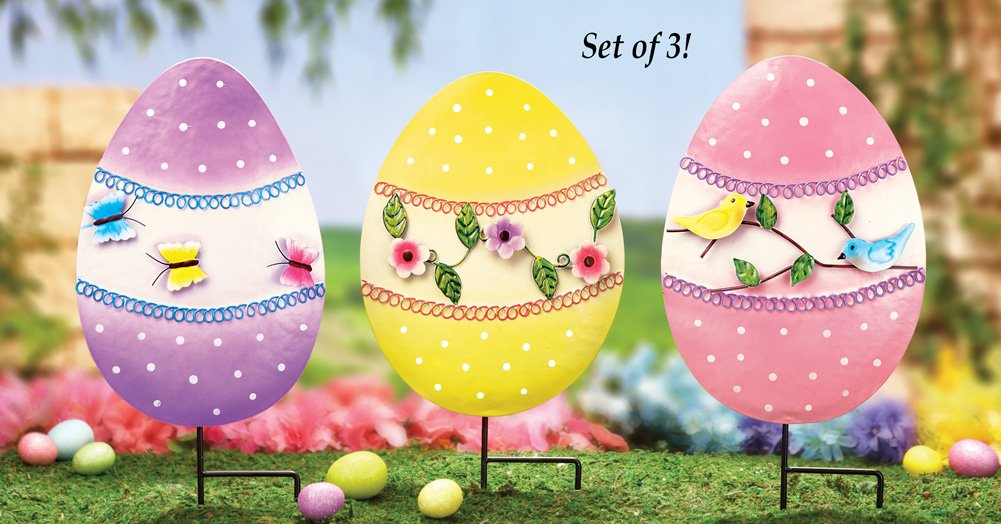 Amazon.com: Collections Etc Floral Easter Egg Garden Decor Yard Stakes    Set Of 3: Garden U0026 Outdoor