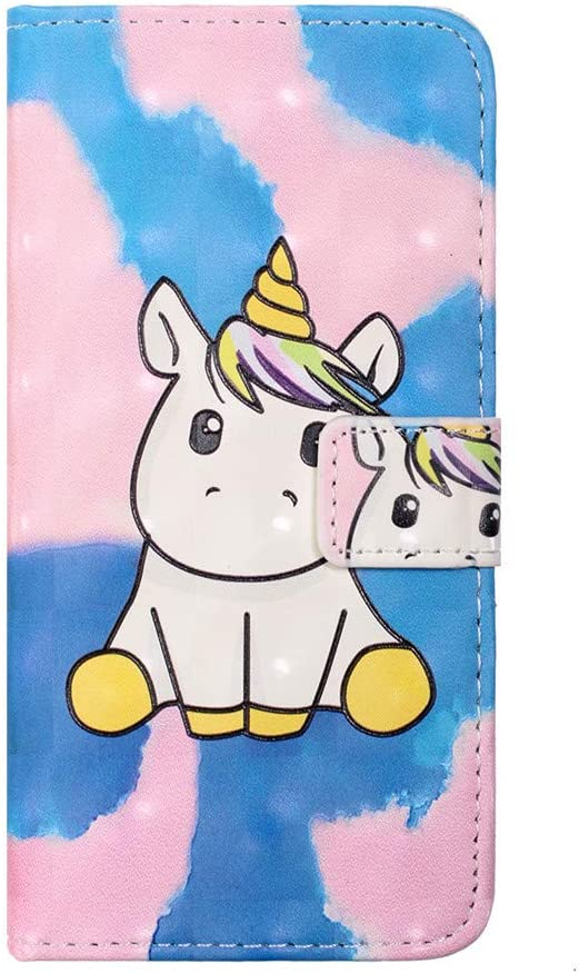 COTDINFOR Case for Samsung Galaxy A20e Case Wallet Cool Animal 3D Emboss Effect Painted PU Leather Flip Magnetic Clasp Card Holder Stand Cover for Samsung Galaxy A20e Doodle Unicorn XS-4.
