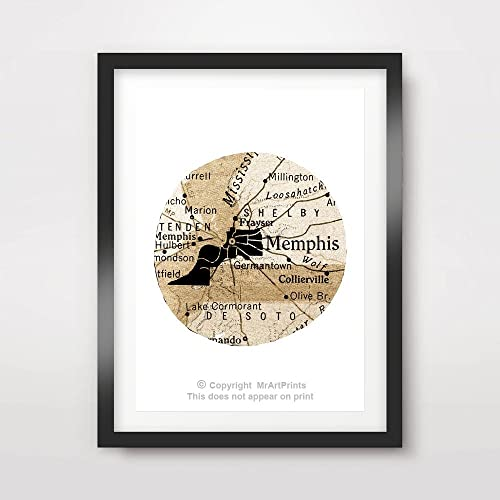 Amazon Memphis Tennessee US United States American Vintage Map