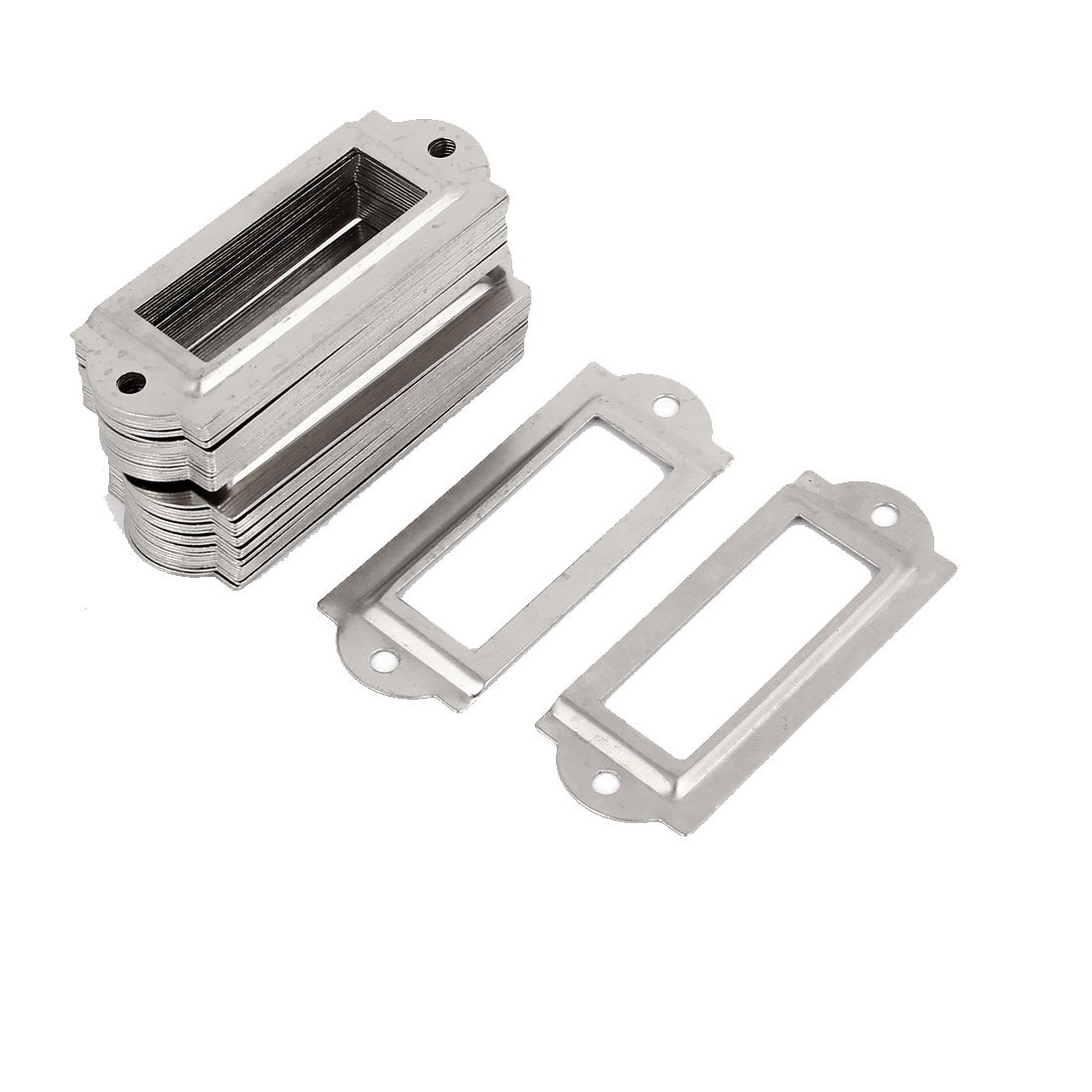 sourcing map Metal Frame Drawer Box Case Cabinet Card Tag Label Holders Silver Tone 50pcs SYNCE009577