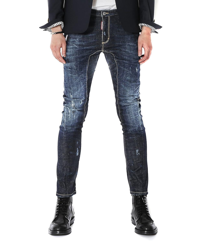 Wiberlux Dsquared2 Men's Whisker Wash Damaged Slim Biker Fit Jeans