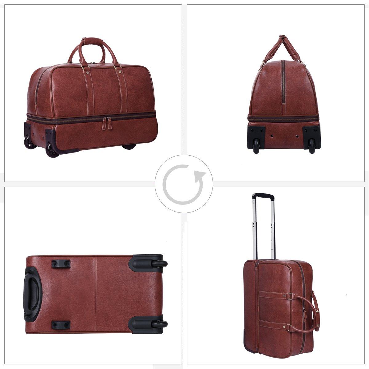 Leathario Leather Luggage travel duffle bag weekend overnight bag (Burgendy) by Leathario (Image #3)