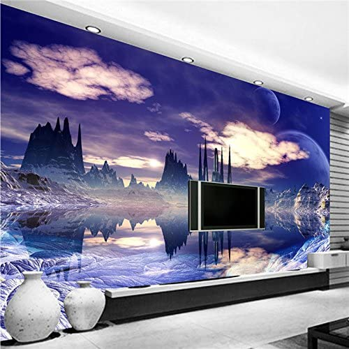 Amazon Com Large 3d Stereo Wallpaper Mural Purple Landscape Background Bedroom Tv Background Wall Home Kitchen