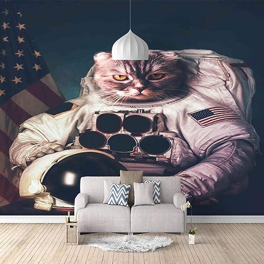 Papel Pintado Fotomural Gato astronauta Mural de seda Fondo ...