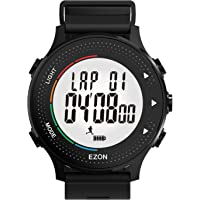 Runing Watch with Pedometer Stopwatch Heart Rate Monitor Timer Waterproof 50M Hourly Chime for Outdoor T045A11