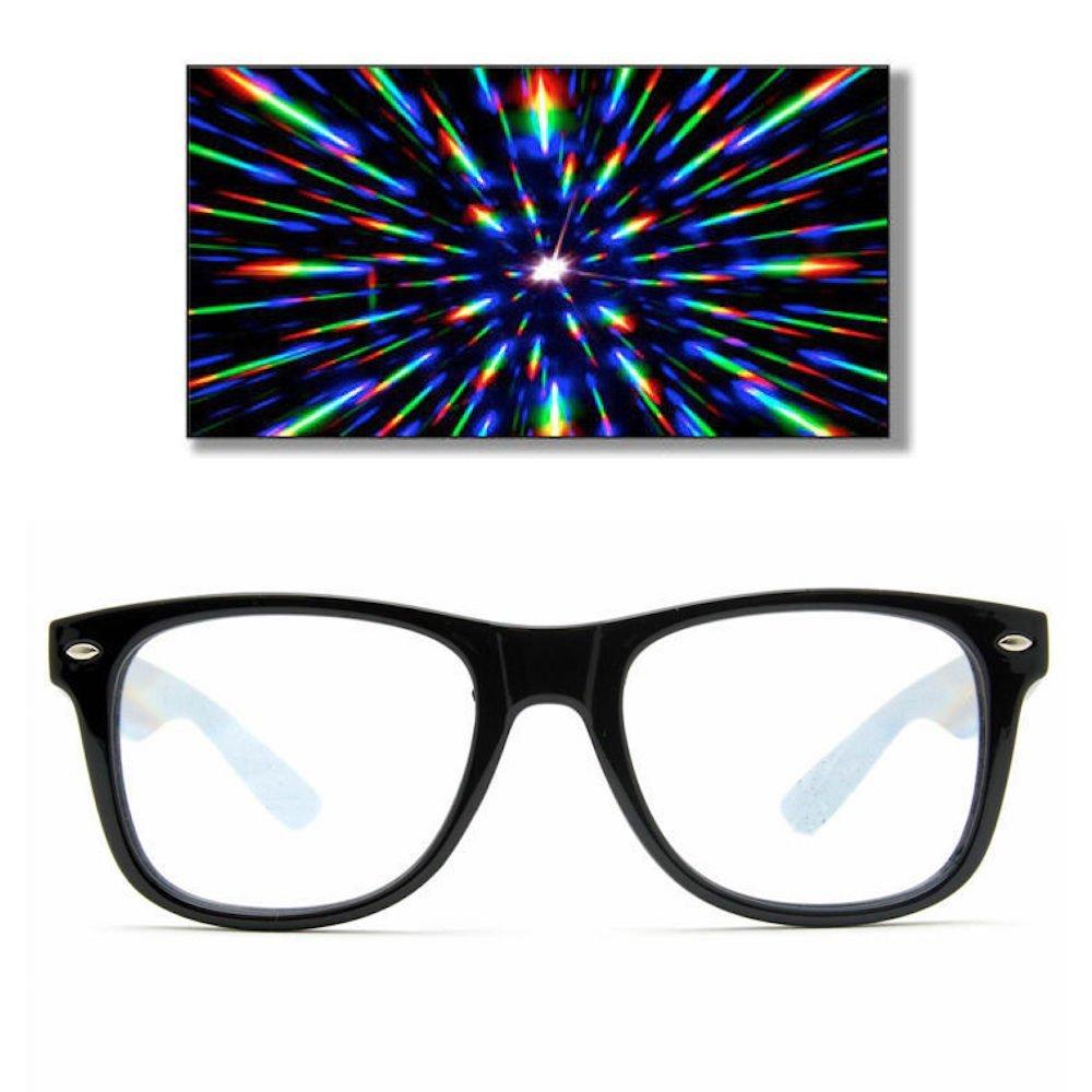 Glofx Ultimate Diffraction Glasses - Black - 3D Prism Effect Edm Rainbow Kale.. 12