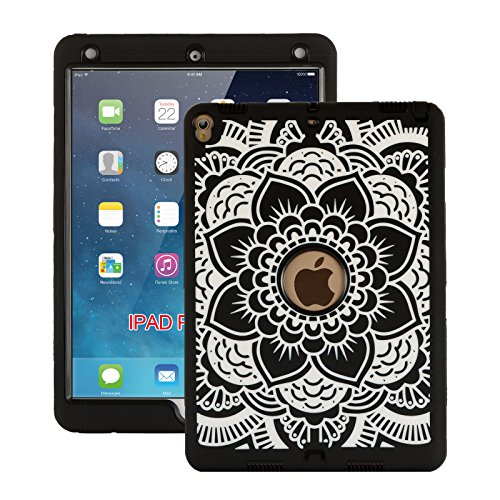 iPad Pro 10.5 Case 2017, ZERMU Black Flower Design Shock-Absorption Silicone High Impact Resistant Hybrid Three Layer Hard Plastic+Silicone Armor Defender Protective Cover for iPad Pro 10.5 Inch