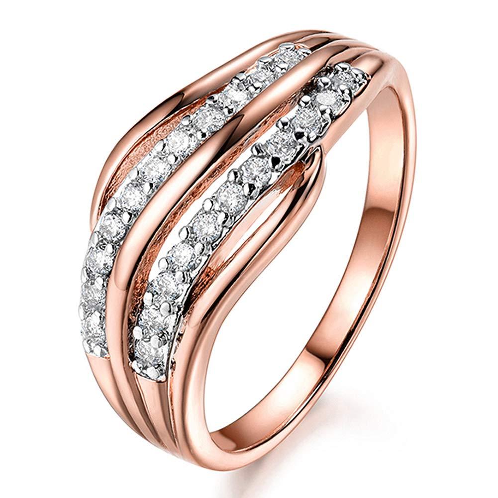 Slendima Fashion Weave Shape Cubic Zirconia Inlaid Ring Women Engagement Jewelry Gift Rose Gold US 9