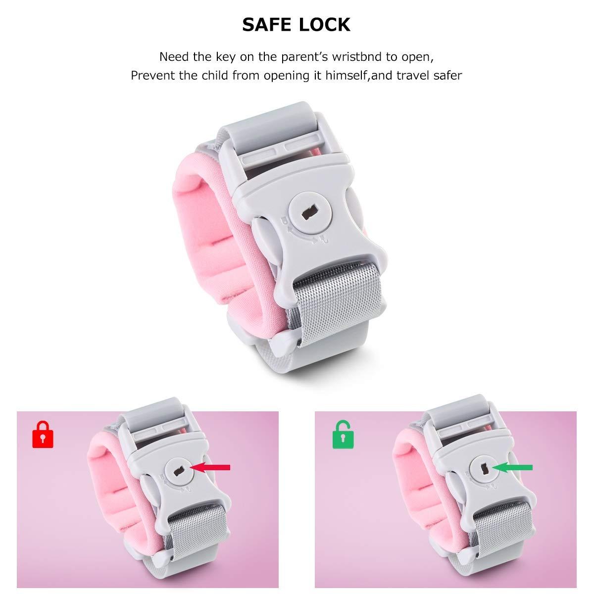 Nosii Key Lock Anti Lost Handgelenk Link Kleinkind Kindersicherheit Handgelenk Leine Anti-verlorene Seil Walking Leine f/ür Kinder Color : Blau, Size : 1.5m Fixed Head