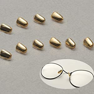 5 pairs Two Layers Screw-on Anti-slip Nose Pads,Symmetrical Nosepad Cushion + Glasses Nose Pads for Eyeglasses Sunglasses,14mm8mm/0.53inch0.28inch,Covered with Soft Silicon (Gold)