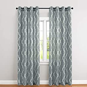 Moroccan Tile Print Geometry Curtains for Living Room Quatrefoil Flax Linen Blend Textured Lattice Window Grommet Treatment Set for Kitchen 63 inch Long 2 Panels Grey