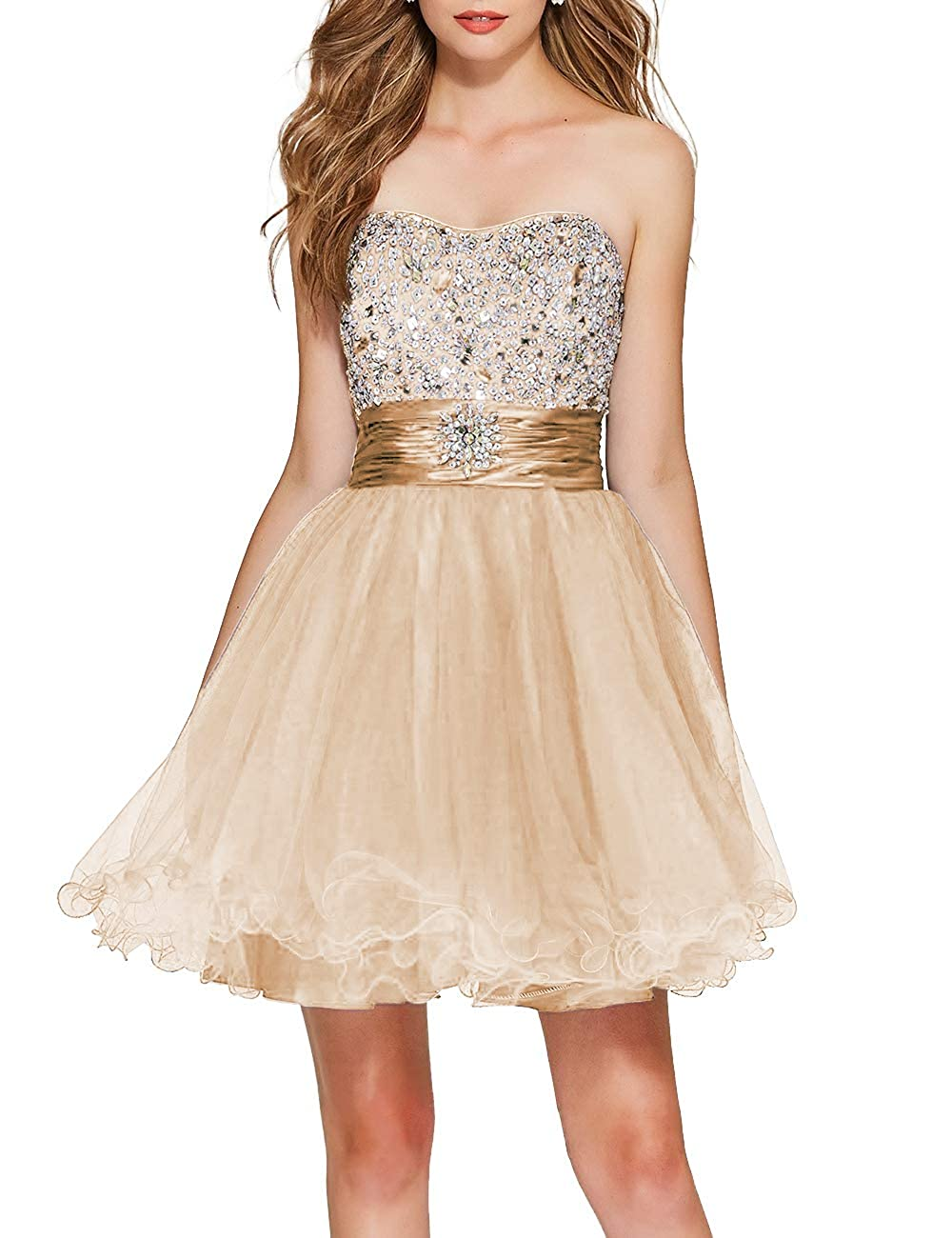 Champagne Uther Girls Sweetheart Bridesmaid Dresses Beaded Homecoming Dress Short Prom Gown