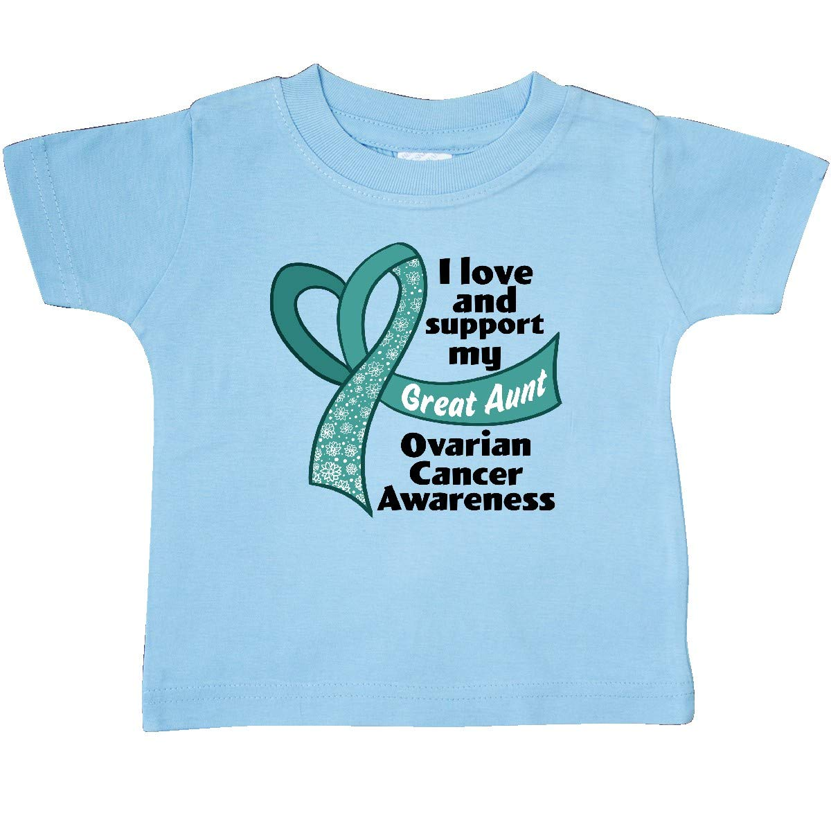 inktastic Ovarian Cancer Awareness I Love and Support My Great Aunt Baby T-Shirt