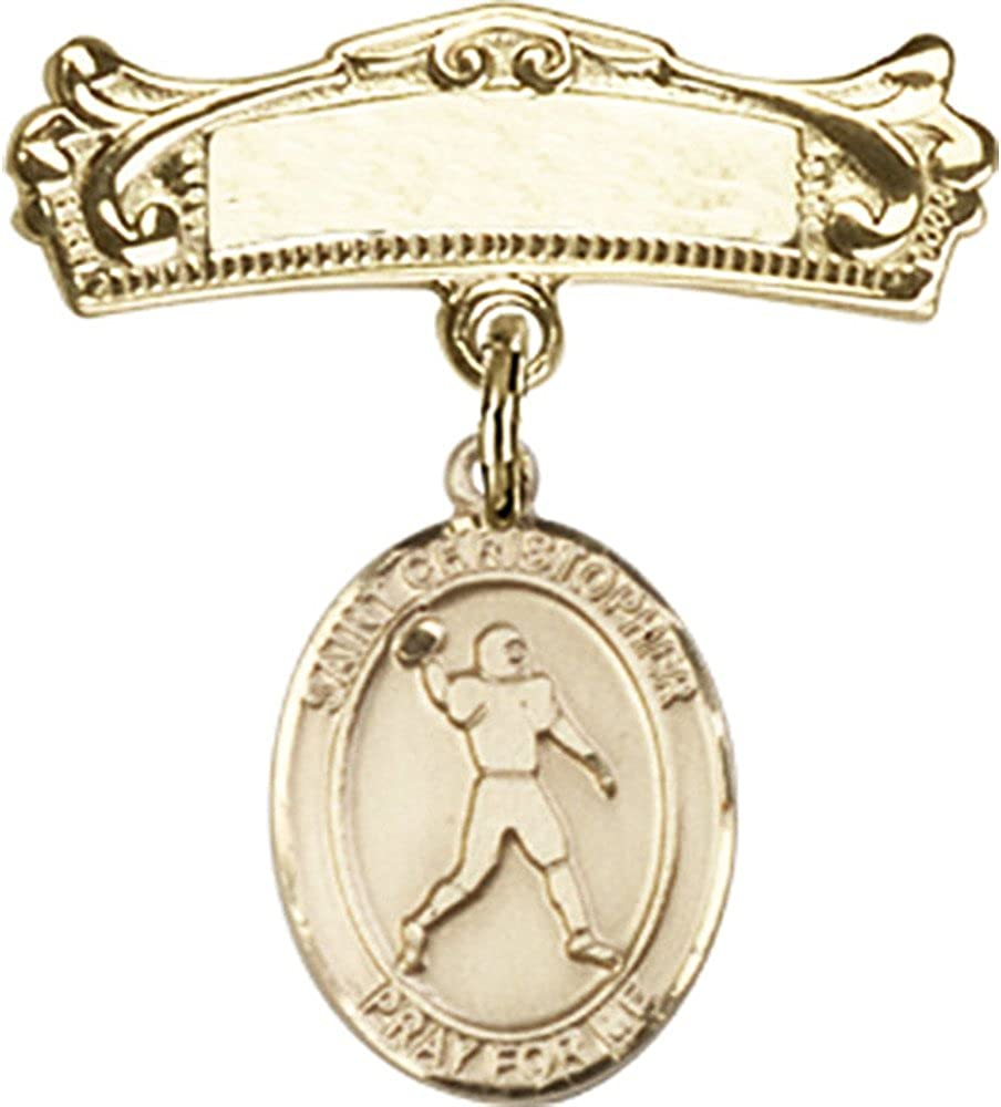 14kt Yellow Gold Baby Badge with St. Christopher/Football Charm and Arched Polished Badge Pin 7/8 X 3/4 inches 61ERP11vCnLUL1000_