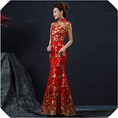 Amazon.com: Red Chinese Wedding Dress Long Short Sleeve Cheongsam