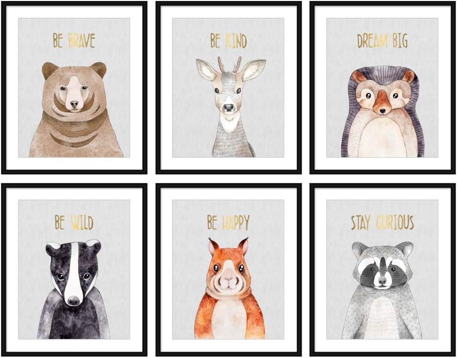 Bestbuddy Pet Set of 6 (8X10) Unframed Woodland Animals Bear Deer Hedgehog Bunny Raccoon Badger Nursery Wall Art Prints Real Gold Foil Baby Art Print BBPAP016
