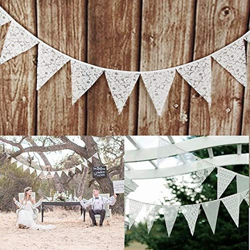 Banners Decorations - Wedding Party Decor 3.2m 12 Flags Lace Fabric Vintage Pennant Bunting Banner Romantic Hanging - Circle Birthday Rustic Baby Baptism Clover Fabric Paper Event Decor -