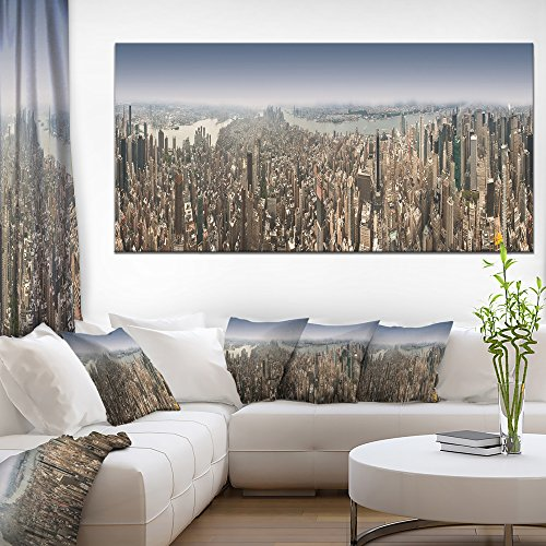 Designart PT6902-60-28 NYC 360 Degree Panorama Cityscape Photography Canvas Print, Green, 60x30
