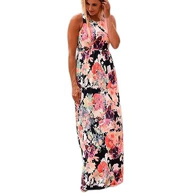 68f22f48e4f0 Damen Lange Maxikleid Sommerkleid Strandkleid Sommer Ärmellos Abendkleid  Partykleid Vintage Boho Blumenkleid Kleider  Amazon.de  Bekleidung