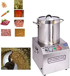 TECHTONGDA Commercial Electric Food Chopper Processor Machine Meatball Beater with Stainless Steel for Meat Fruits Vegetables Nuts and Ice Blender Grinder Food Processing 15L 110V (#020293)