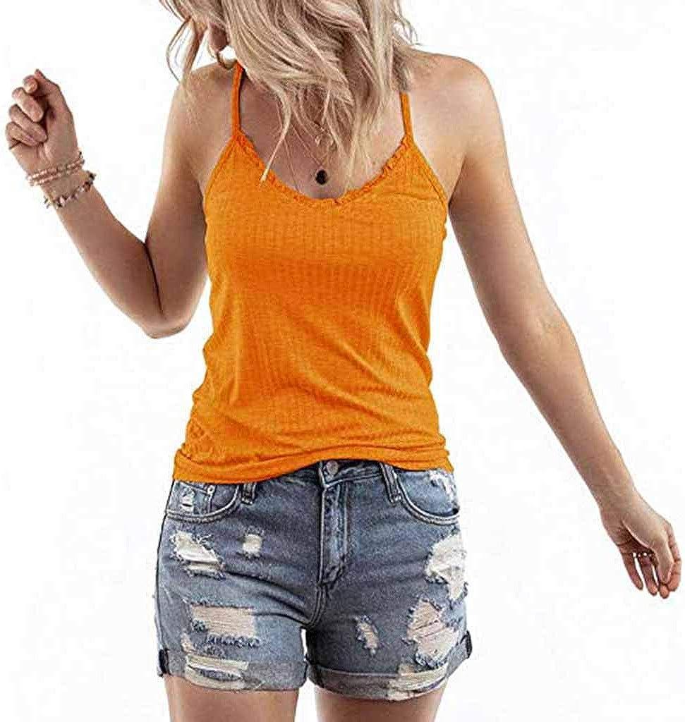 yoyorule Women Casual Shirt Women Summer Solid Sleeveless Shirt Blouse Casual Tank Tops T-Shirt