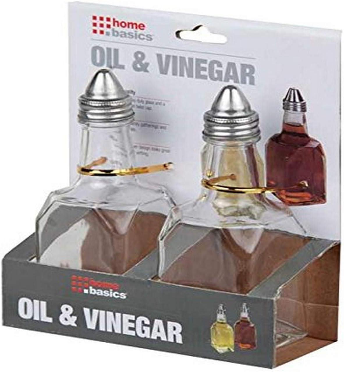 Home Basics OV10436 Glass Oil and Vinegar Cruet Set Clear